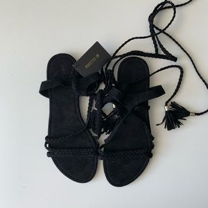NEW black tied up sandals 10